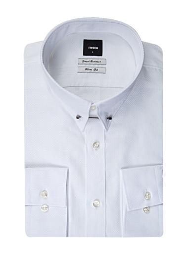 Tween Slim Fit Jakar Desenli Gömlek Beyaz